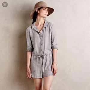 Anthropologie Linen Romper Size Small